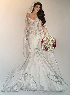 Dress Design Sketches, Fashion Design Drawings, Fashion Sketches, Dress Illustration, Fashion Illustration Dresses, Fashion Illustrations, Wedding Dress Drawings, Fashion Art, Fashion Models