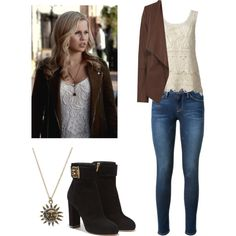 Rebekah Mikaelson - tvd / the originals / the vampire diaries by shadyannon on Polyvore featuring Oasis, Frame Denim, Salvatore Ferragamo, women's clothing, women's fashion, women, female, woman, misses and juniors