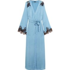 I.D. Sarrieri Hôtel Particulier Chantilly lace-trimmed silk-blend... (11.413.510 IDR) ❤ liked on Polyvore featuring intimates, robes, satin dressing gown, satin robe, lace trim robe, satin bathrobe and dressing gown