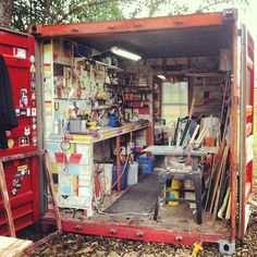 """Brian Phillips : """" I work with salvaged wood. My studio is a 20 foot shipping container that I bought and converted into my art studio with salvaged items. The front space near the cargo doors is my wood workshop and the back room with the window is my fully insulated painting room. """""""