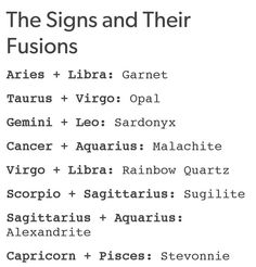 Steven universe, The Signs as Their Fusions. I'm a Gemini ♊ (Sardonyx) I jus need a Leo to complete me ^^