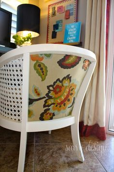 Living Savvy: How To: Reupholster a Cane Barrel Chair Chair Redo, Chair Makeover, Furniture Makeover, Diy Chair, My Furniture, Upcycled Furniture, Furniture Projects, Painted Furniture, Duncan Phyfe