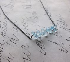 diana necklace - blue aquamarine sterling silver.