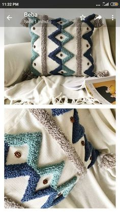 Cat Fabric, Fabric Rug, How To Make Pillows, Diy Pillows, Giant Knit Blanket, Boho Cushions, Punch Needle Patterns, Contemporary Embroidery, Embroidered Cushions