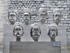 The heads of the kings of Judea (1220) which adorned Notre Dame de Paris and  were mistaken as kings of France during the Revolution and decapitated. The heads were found during excavations behind the Opera in 1978.