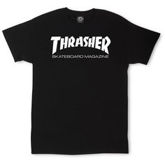 Thrasher Skate Mag T-Shirt ❤ liked on Polyvore featuring tops, t-shirts, cotton tee, cotton t shirts, logo t shirts, cotton logo t shirts and logo tees