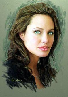 Shahin Gholizadeh | iraniano -pintor- pastel Digital Art- | Angelina Jolie--Via Tuttart @