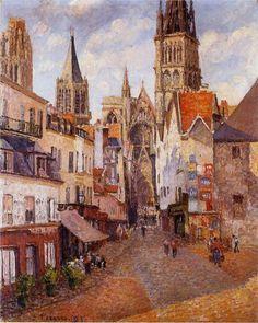 Sunlight, Afternoon, La Rue de l'Epicerie, Rouen - Camille Pissarro, 1898