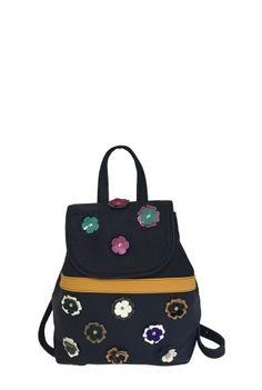 Rucsac negru din piele naturala cu flori aplicate U184 -  Ama Fashion