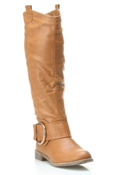 Riding Style Boot with Buckle. Love the camel!