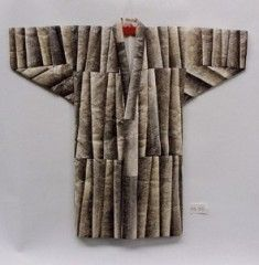 Ainu - Fish skin clothes Pieces of salmon, trout and other fish skin are patched together to create clothes with tighter sleeves and a wider hem than other clothes, and is similar to a western style one-piece dress.