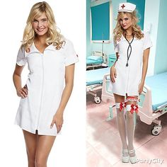 Doctor up a nurse outfit! Add sizzle to a basic nurse costume with a nurse's hat, stethoscope, white thigh-high fishnets and sexy nurse garters ;)