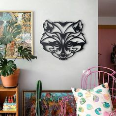 Inspired by the beautiful portrait of this masked animal, raccoon metal wall art is designed to create a lovely animal art collection for your rooms. Metal Walls, Metal Wall Art, Diy Home Crafts, Forest Animals, Wall Design, Home Art, Wall Art Decor, Office Decor, Mandala