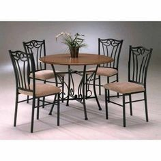 Heritage 5 Piece Round Wood and Metal Dining Set