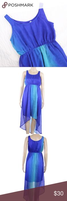 Truth Ombré Blue Aqua High Low Maxi Dress Truth ombre green and blue vibrant maxi dress with high low hem.  Fits true to size.  Shown on a size 2/4 mannequin.  In gently used good condition.  Measurements available upon request.  All orders ship same or next business day! Truth Dresses Maxi