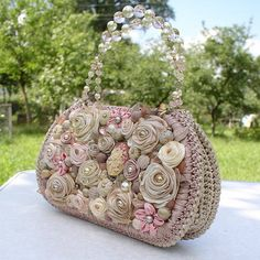 Hand-made ribbon crochet and embroidery bag