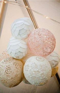 Pretty DIY hanging decor... variety of textures is a great idea!  Doilies, Strings, and coffee filters. Wrap them over a balloon, cover with fabric stiffener, and when ready, pop the balloon.