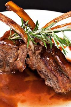 Lamb Chops with Balsamic Reduction Recipe - Lovely Presentation! Lamb Recipes, Meat Recipes, Cooking Recipes, Healthy Recipes, Dinner Recipes, Lamb Dishes, Balsamic Reduction, Chops Recipe, Lamb Chops