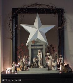 Great Way To Display The Willow Tree® Nativity Set. I adore willow tree figurines and have wanted the nativity set for years!