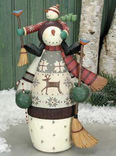 Snowman Holding Broom with Junior Snowman Figurine $60.00