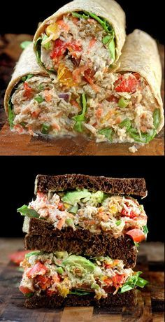 "Loaded Chicken Salad with Garlic Greek Yogurt Ranch ""Mayo"" aka Crack Chicken Salad. Use gluten free bread to make this a gluten free lunch idea!"