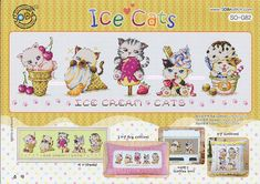 Choose 1 - Counted Cross Stitch Original Design Pattern Chart **Good Night Kitty - SO - G128** Cross Stitch Pattern Chart Large size Chart W 375 count × H 99 count ------------------------------------------ **Ice Cats - SO - G82** Cross Stitch Pattern Chart Large size Chart W 270
