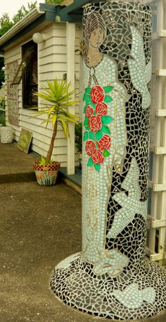 This is the House and Garden of N.Z. Mosaic Artist Jude Morrah. The Mosaic Garden is on the North Island of New Zealand , 22 Connell Street East. Waihi.