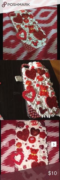 3D Love Affair Bling iPhone 5/s Cabochon Hard Case 3D Whipped Cream Cabochon Kawaii Bling iPhone 5/s Hard Case  Super cute embellishments. Be one of a kind with this phone case. Whipped Cream.Red.Pearls.Hearts.Bling.Love.Shine.Random.Flowers. Food.Dice.Rare.  Lavish design. One of a Kind!!  ❄️  Handmade from durable high quality plastic materials, luxury crystal rhinestone and durable glue.  Won't fall off with proper care!  Colors same as photo Accessories Phone Cases