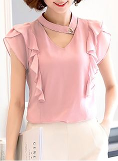 Women's Casual/Daily Simple Spring Fall Blouse,Solid V Neck Short Sleeve Polyester Sheer Hijab Fashion, Fashion Outfits, Womens Fashion, Top Chic, Classy Casual, Work Attire, Corsage, Cute Tops, Dress Patterns