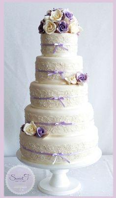 Lilac and Ivory Soft Romance Wedding Cake
