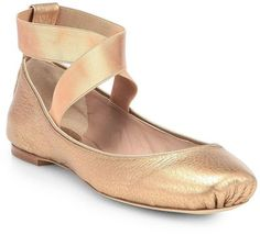 Chloe Metallic Leather Ballet Flats