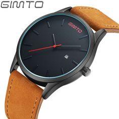 GIMTO Men Watch Fashion Leather Waterproof Quartz Wrist Watches Best luxury   6f4cfc72b3