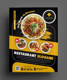 This Restaurant Flyer can be used for fast foods, grill, jerk, Italian restaurants etc. Food Menu Design, Food Poster Design, Creative Poster Design, Poster Designs, Graphic Design Flyer, Flyer Design Templates, Flyer Template, Food Template, Restaurant Poster