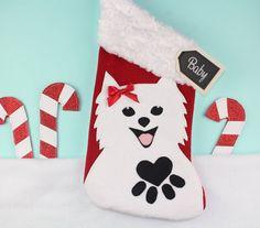 POMERANIAN Christmas Stocking White or Tan by TheStockingShoppe