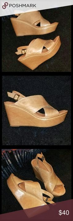 Born Platform Wedge Sandals Natural color leather wedge sandals. Very little signs of wear, except for the light scuffs that the natural color leather shows. Great condition. Born Shoes Sandals