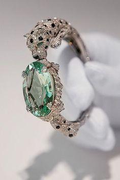 Cartier ~ Panther bracelet with green beryl. #Mint Green