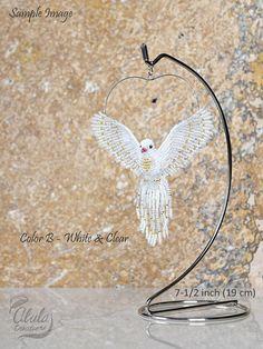 White Dove Ornament Beaded Dove Suncatcher Dove Necklace