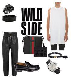 """""""W I L D"""" by ricardocamacho on Polyvore featuring Petar Petrov, DRKSHDW, Valentino, Gucci, Christian Louboutin, men's fashion y menswear"""