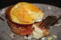 Breakfast in a muffin tin: egg, bacon, and cheese. Bake 25-30 minutes at 375° F. Delicious.