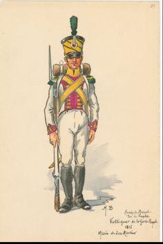 SOLDIERS- Boisselier: Armée de Murat, Roi de Naples: Voltigeur de la Garde Royale, 1815, by H. Boisselier.