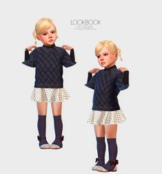 Puffer Top Skirt Outfit By link Turtleneck By link Socks By link Shoes by requested by Recolor By link Earrings By link Bracelet By. Toddler Cc Sims 4, Sims 4 Toddler Clothes, Sims 4 Cc Kids Clothing, Toddler Outfits, Kids Outfits, Sims 4 Game Mods, Sims 4 Mods, The Sims 4 Bebes, Sims 4 Traits