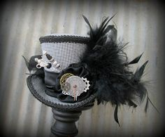 Steampunk Mini Top Hat Black Herringbone Alice in by ChikiBird