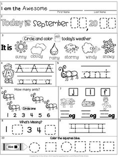 Morning Work: September Packet for Kindergarten (Common Core Differentiated) Smart Board Activities, Smart Board Lessons, Differentiated Kindergarten, Kindergarten Worksheets, English Lessons For Kids, Kids English, Kindergarten Morning Work, All About Me Preschool, Math Graphic Organizers