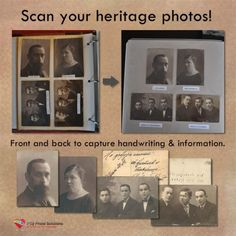 """Digitize Your Heritage Photos."" ~ an interesting article. Scan your vintage photos front and back to capture handwriting and information. Family History Book, Photo Scan, Heritage Scrapbooking, Family Research, Old Photos, Vintage Photos, Family Genealogy, Album Photo, Photo Projects"