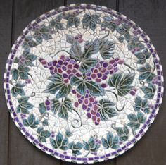 in the Round mosaic wall hanging, hand-made.Grapes in the Round mosaic wall hanging, hand-made. Mosaic Tile Art, Ceramic Wall Art, Mosaic Crafts, Mosaic Projects, Mosaic Glass, Mosaics, Mosaic Mirrors, Stained Glass, Mosaic Stepping Stones