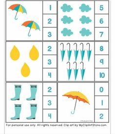 rain themed counting activity with clothespin - Funny crafts Montessori Math, Preschool Learning, Kindergarten Worksheets, In Kindergarten, Preschool Activities, Teaching Kids, Fun Activities For Toddlers, Counting Activities, Math For Kids