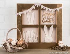 Flex your papercrafting muscles and hop right into this cute-as-can-be Easter craft! Create your own 'Hoppy Easter' display by simply painting a pre-made window frame and embellishing it with custom paper accents.