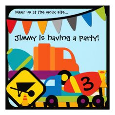Your little construction worker will love these colorful and oh so cute customized Construction Birthday invitations for his next party! Brightly colored trucks, signs, cones, flags, and areas you can easily add your child's birthday party information make these a favorite party invite! #construction #trucks #cement #mixers #kids #boys #parties #birthday #construction #birthday #customized #personalized #kids #birthday #cute #fun #colorful #childrens #peacockcards