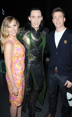 Scarlett Johansson, Tom Hiddleston & Chris Evans from 2013 Comic-Con - The stars posed backstage at Marvel Studios' press calls for Thor: The Dark World and Captain America: The Winter Soldier.