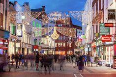 Grafton Street - Dublin Print by Barry O Carroll Grafton Street, Temple Bar, Dublin City, Christmas Lights, Beverly Hills, Fine Art America, Instagram Images, Street View, Gallery